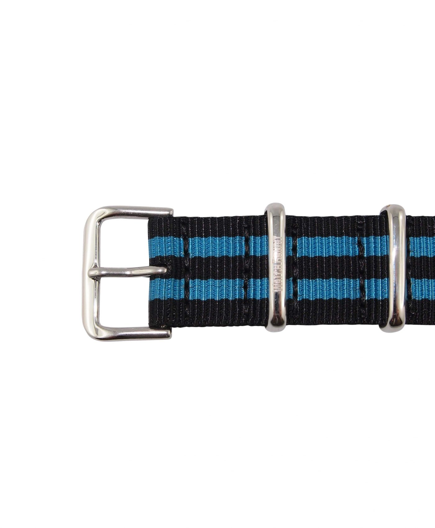 Nato Strap | Black & Light Blue | Polished | 18 mm