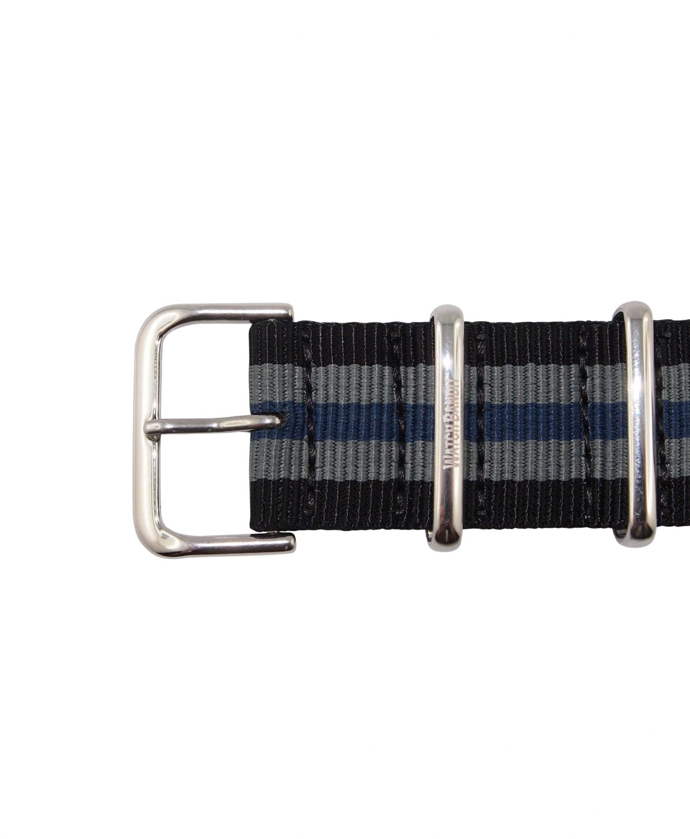 Nato Strap | Black, Blue & Silver| Polished | 22 mm