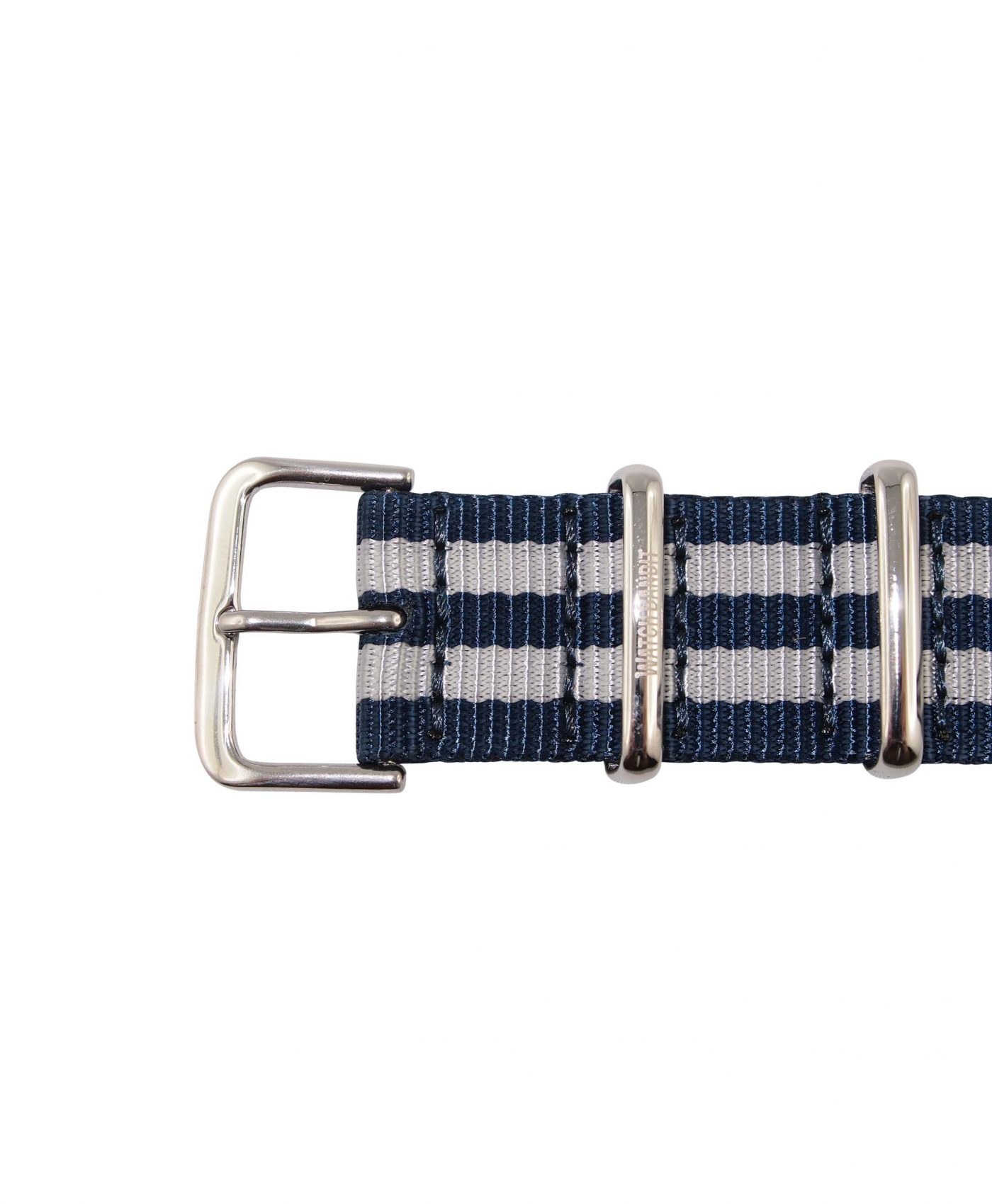 Nato Strap | Blue & White | Polished | 20 mm