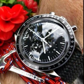 Black Perlon Strap and Omega Speedmaster Credit acnorway