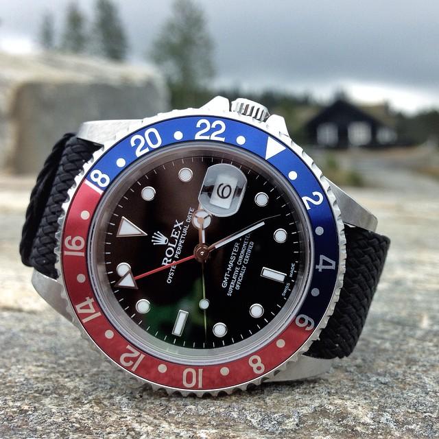 Black Perlon Strap Rolex GMT Master II Credit oslokiropraktoren