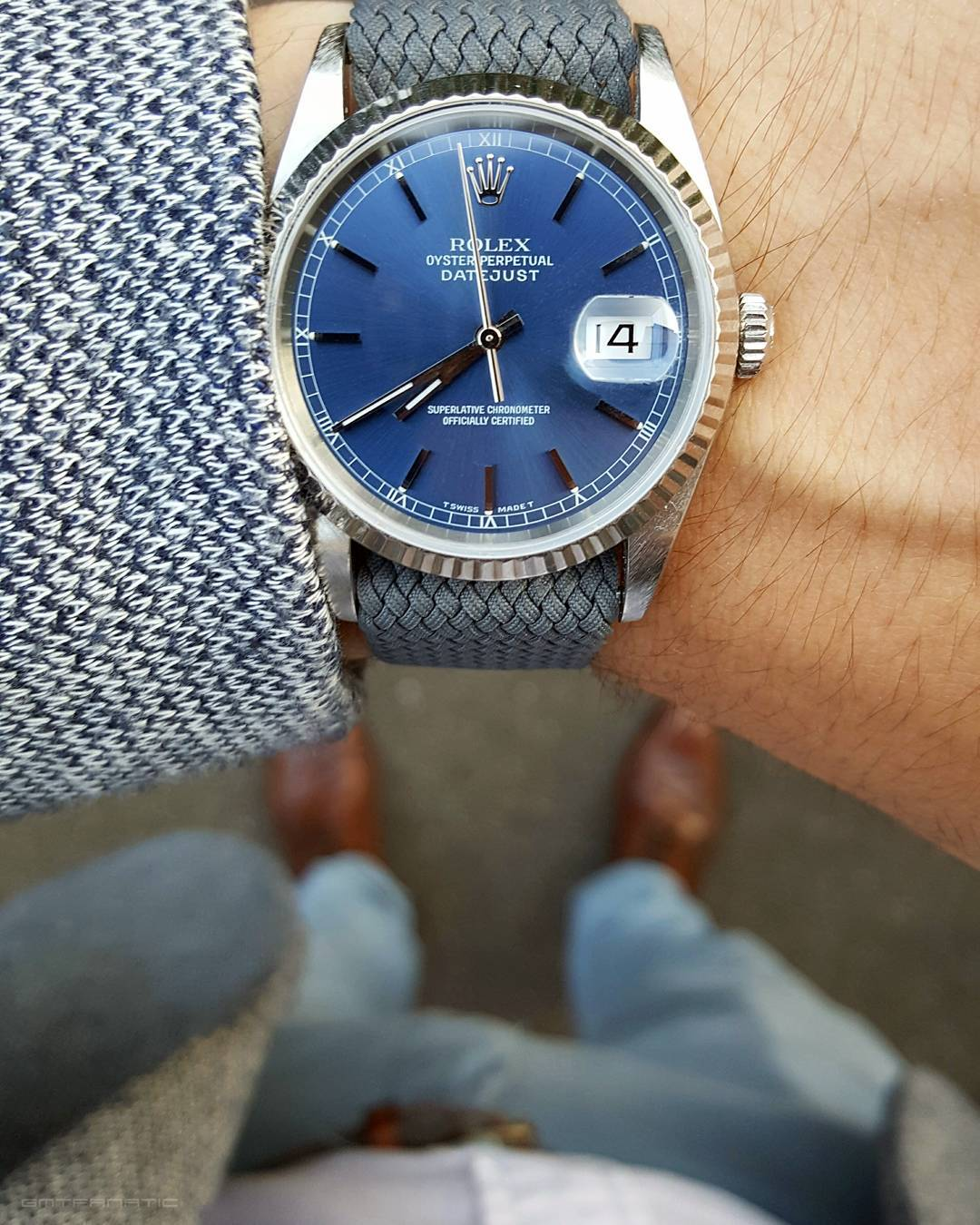 Rolex Datejust 16234 grey Perlon Watchbandit