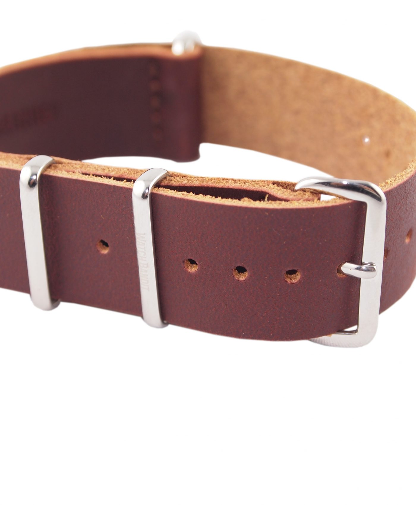 Nato Strap Burgundy Leather WatchBandit