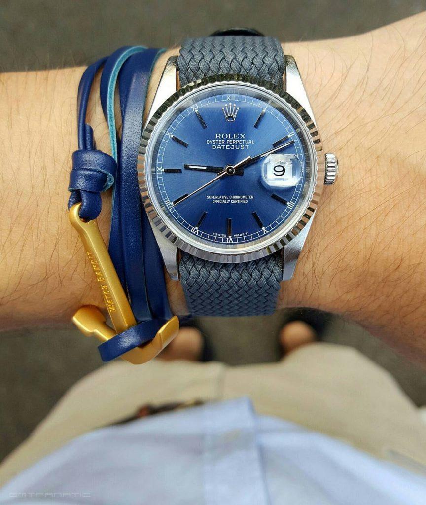 Rolex Datejust anchor bracelet leather gold watchbandits