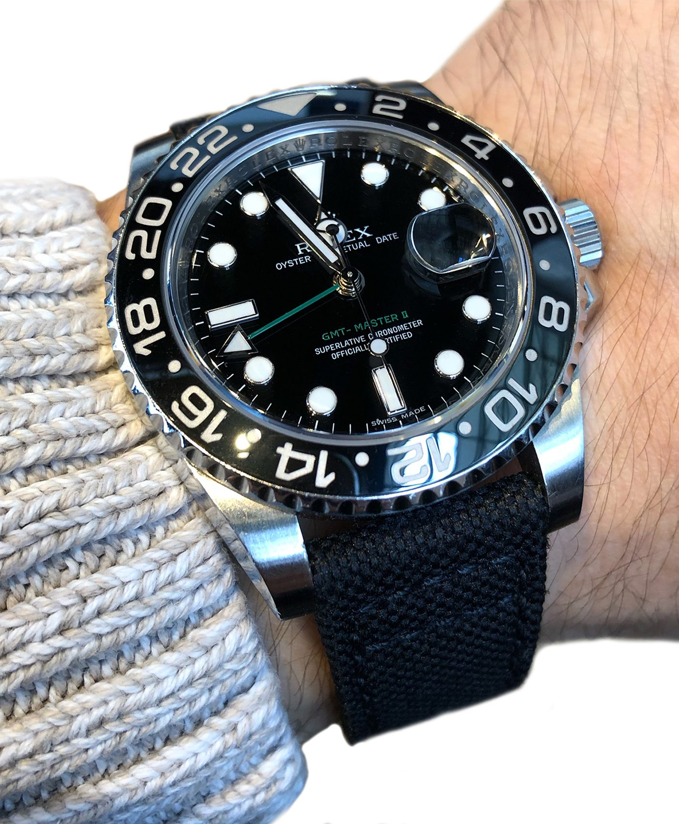 Rolex GMT Master II 116710LN on black Canvas strap Eulit