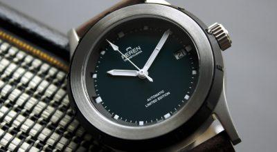 The Peren Nera Watch case front