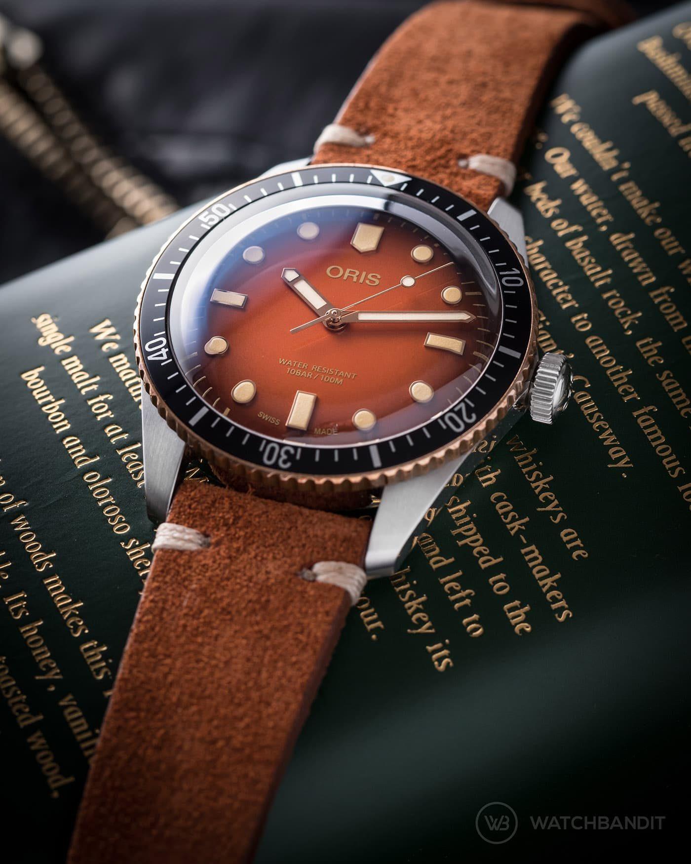 Oris Diver 65 rusty brown suede strap by watchbandit