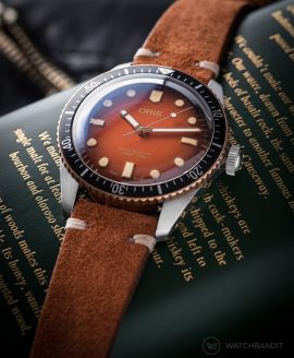 Oris Diver 65 rusty brown suede strap by watchbandit