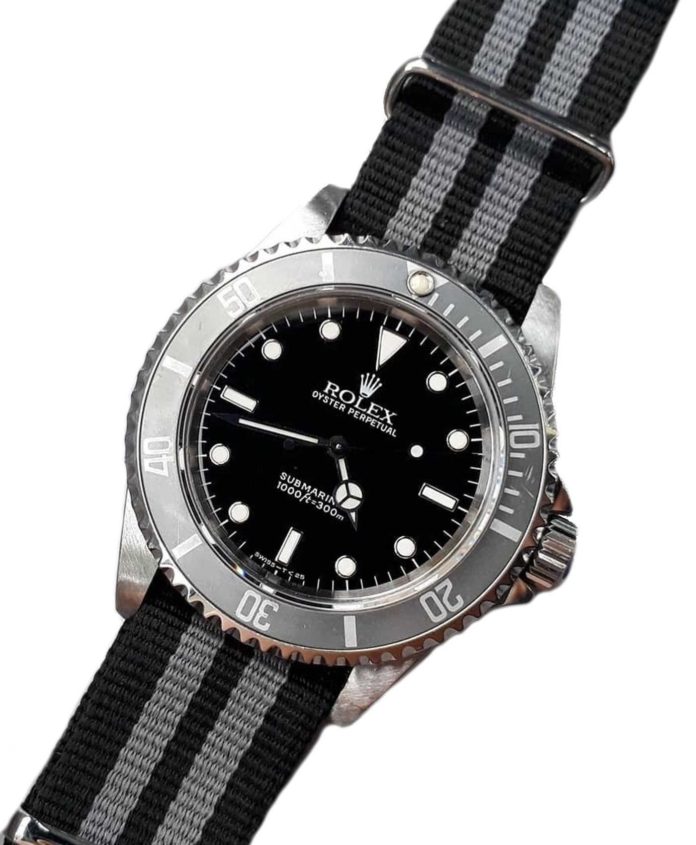 Rolex Submariner military vintage on Black and Grey striped Nato strap James Bond style