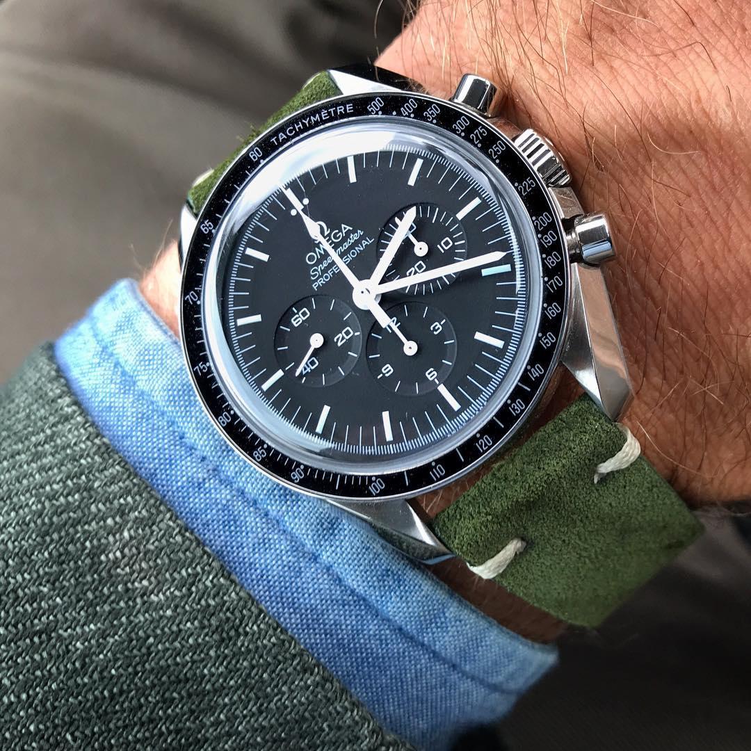 omega speedmaster watchbandit suede strap green