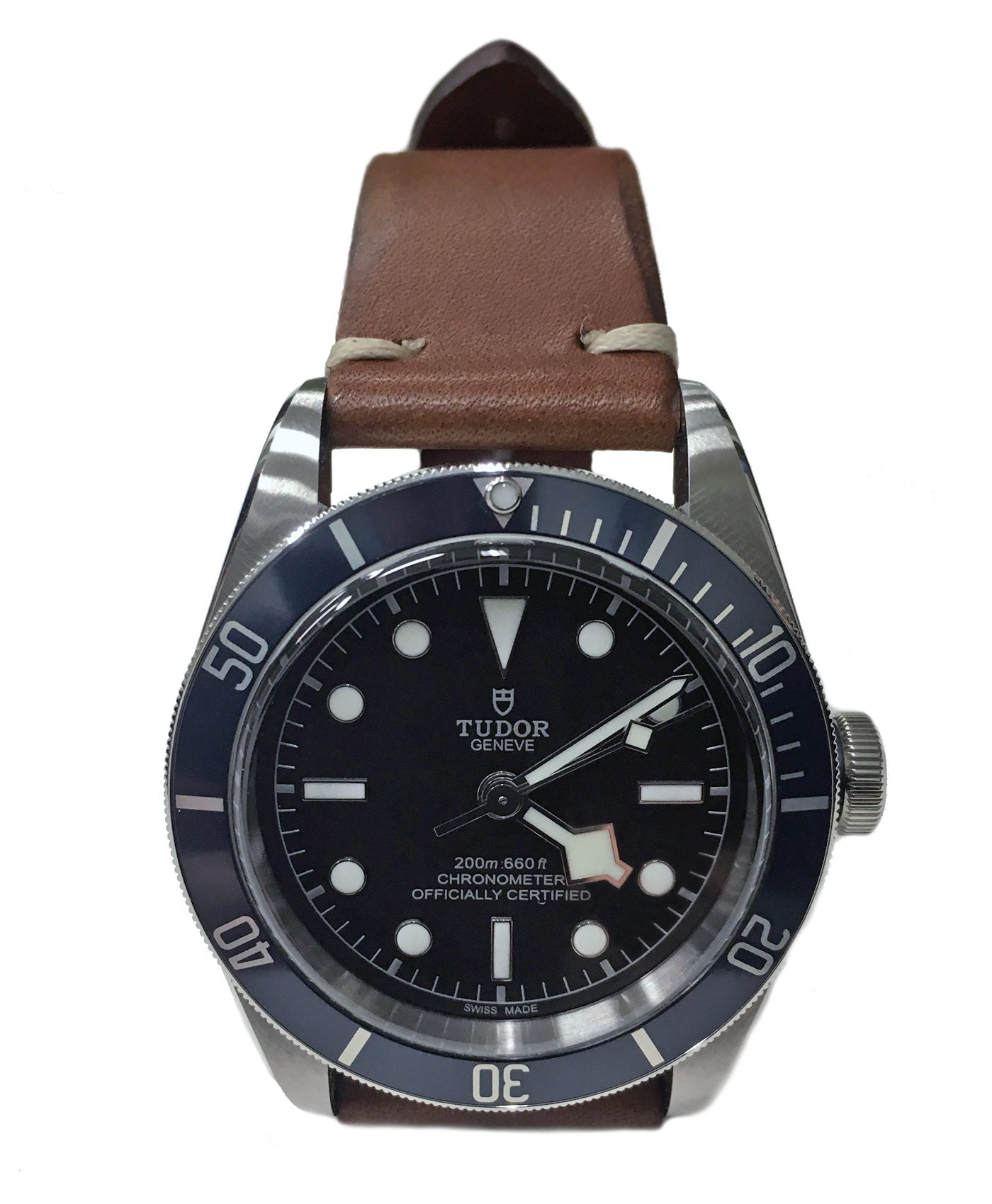 Tudor Blackbay blue on vintage brown leather strap by WB Original