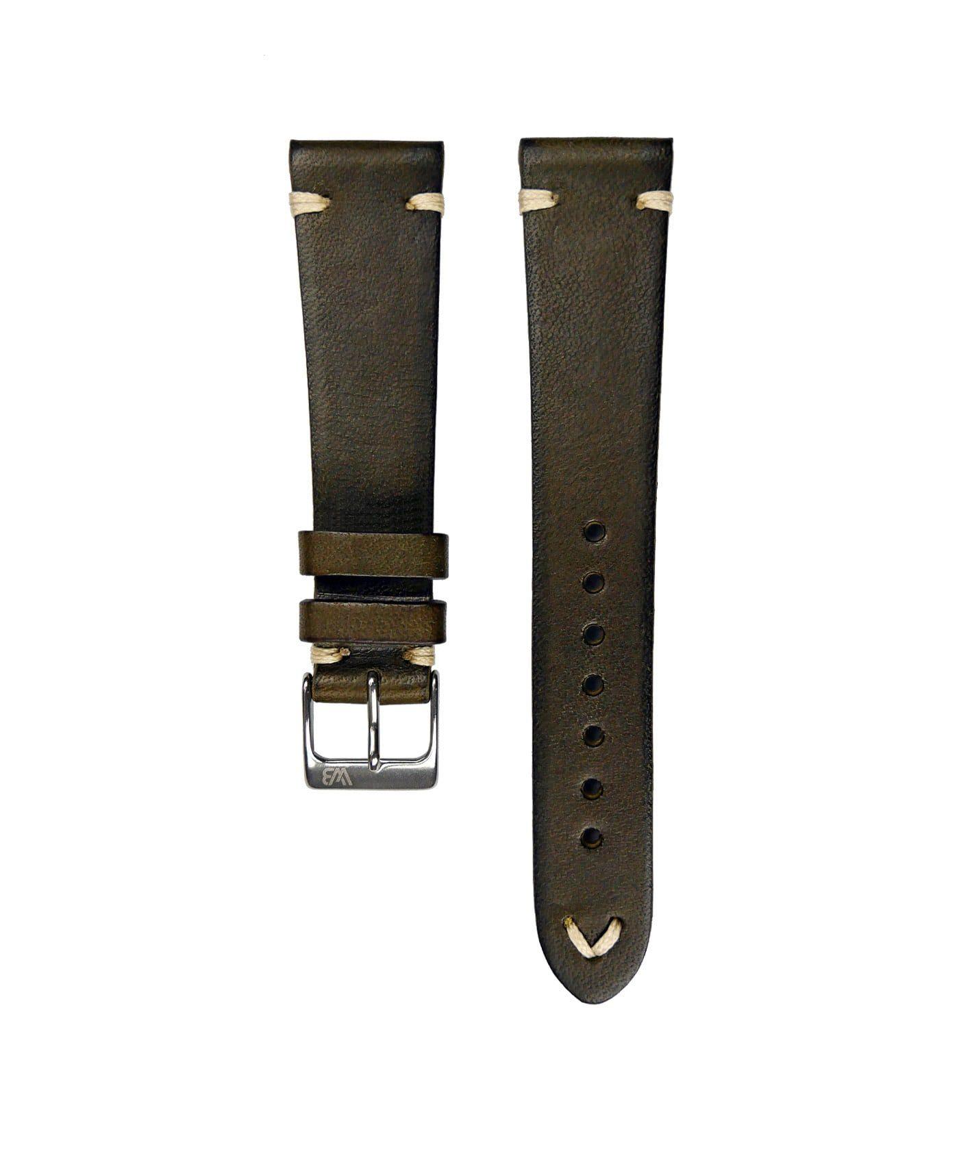 WB original Vintage Leather watch strap dark green front