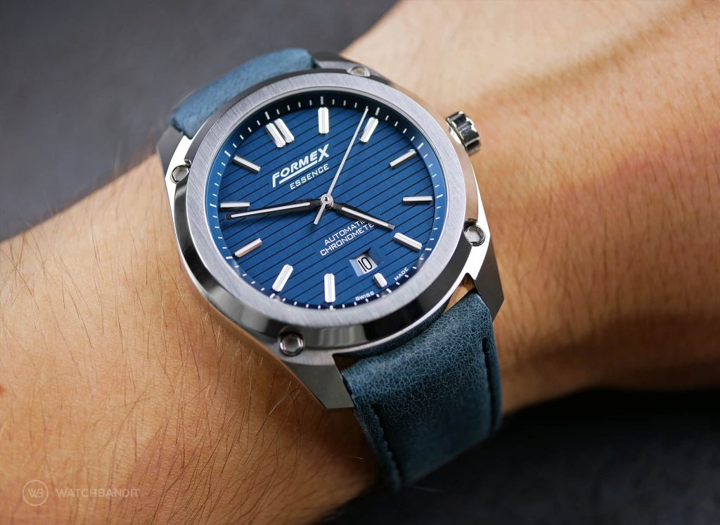 Formex Essence Chronometer Blue Leather Strap Wristshot