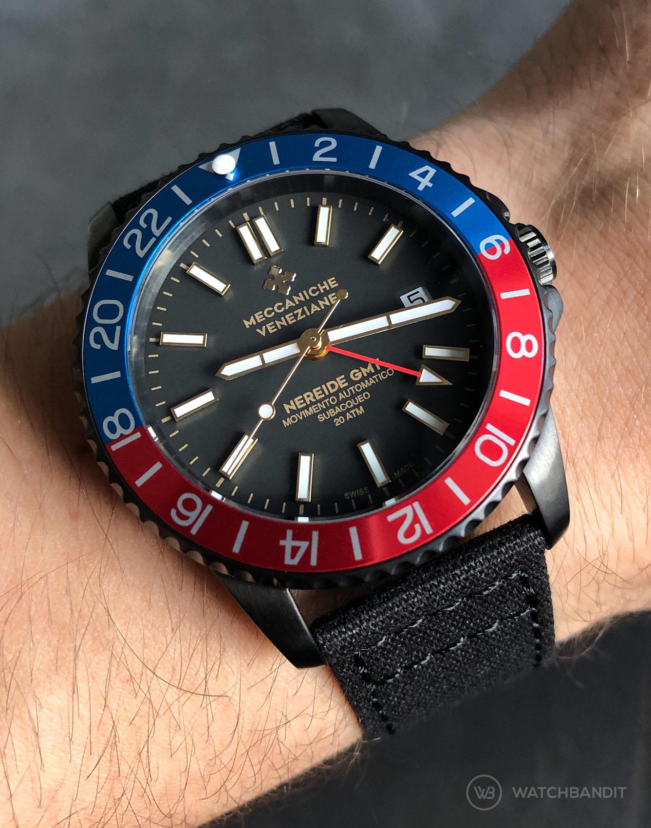 Meccaniche Veneziane Nereide Pepsi GMT Diaspro PVD Watchbandit black Canvas strap