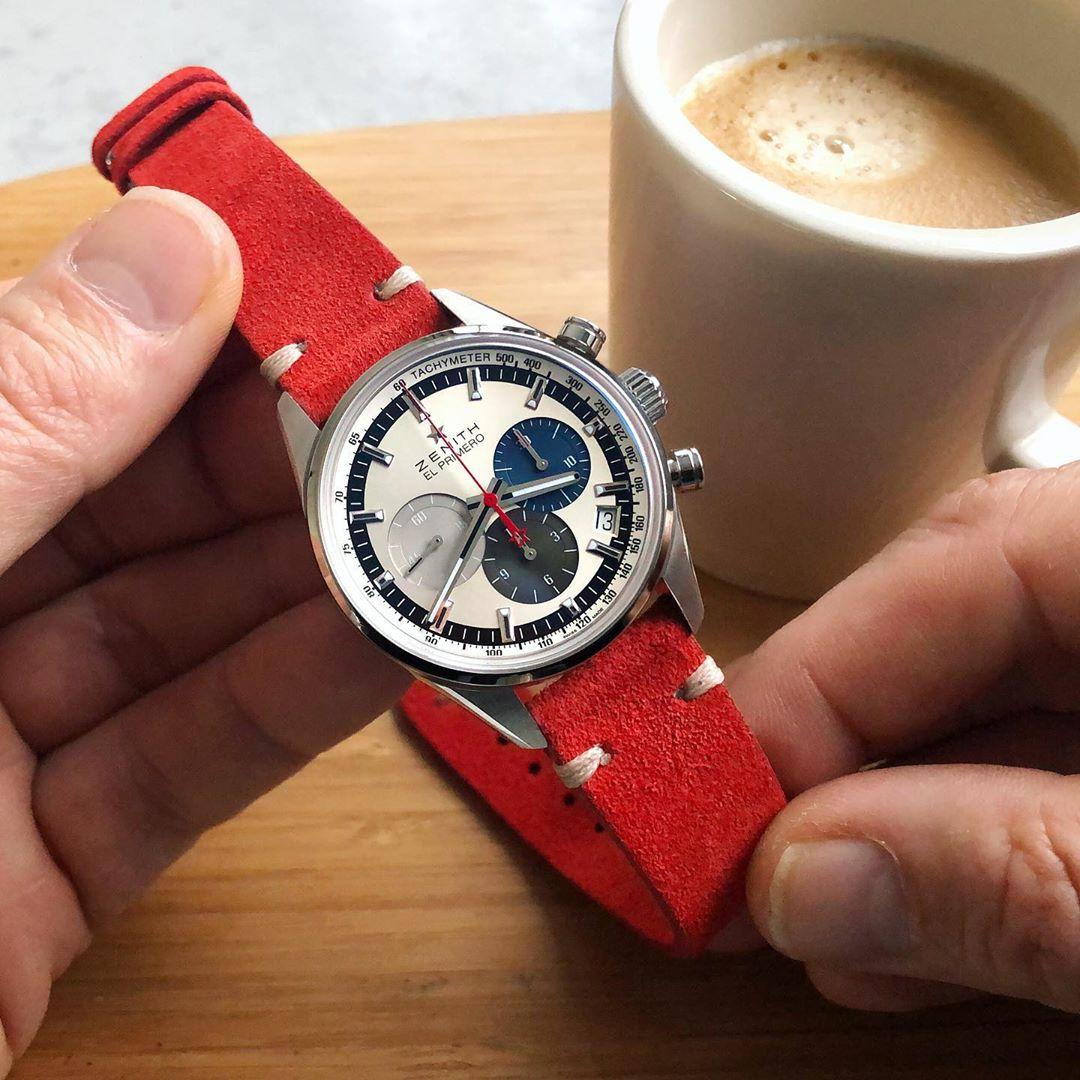 Zenith el primero on red watchbandit suede by rolopalooza