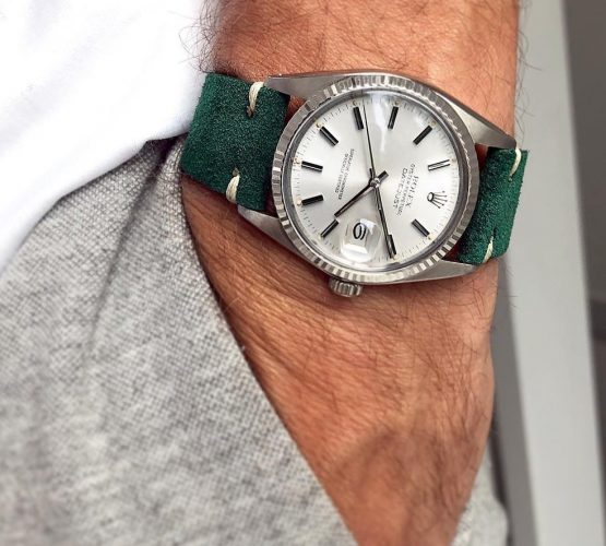 rolex datejust 16014 watchbandit suede strap green