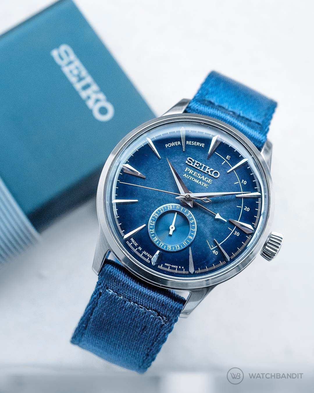 Seiko Presage Blue Cocktail Starlight SSA361J1 Nato Strap WatchBandit