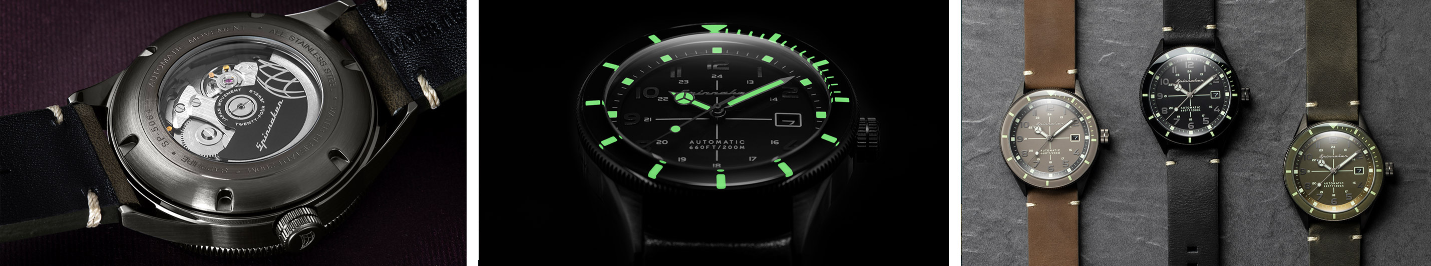 Spinnaker Cahill collection, movement and lume shot Watchandit_Banner