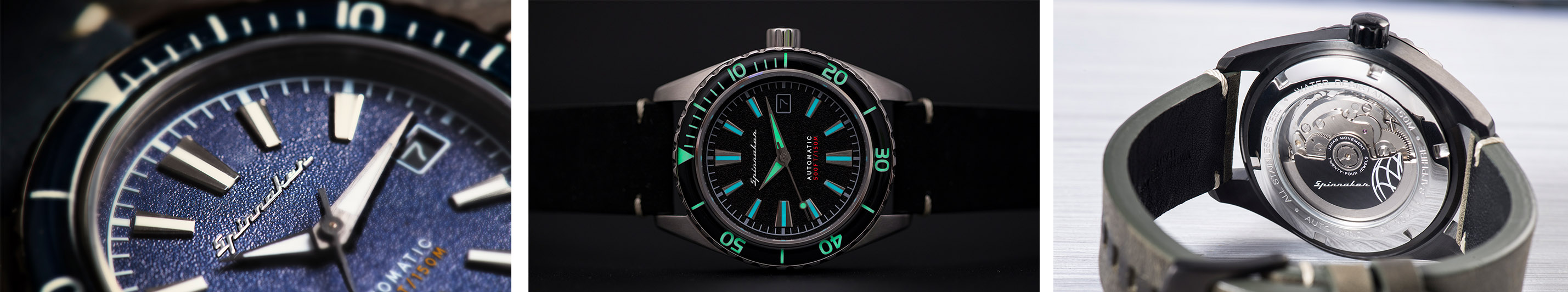Spinnaker Fleuss_56 Series Close up, Lume shot, movement Watchandit Banner