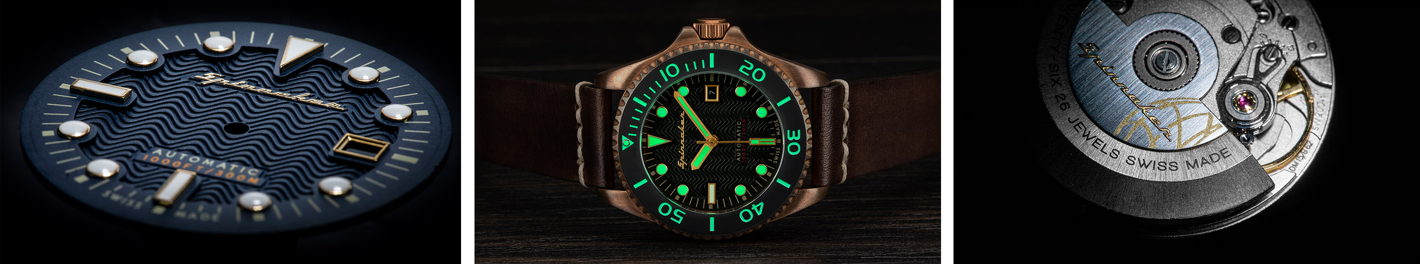 Spinnaker Tesei Watchandit Banner Dial, Lume shot, swiss made movement Sellita SW200