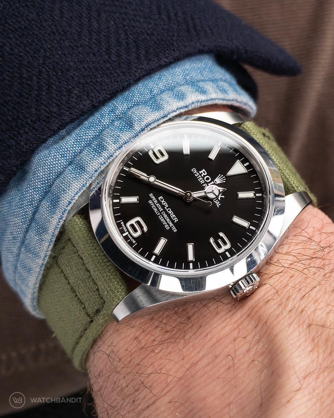 rolex exporer watchbandit canvas strap