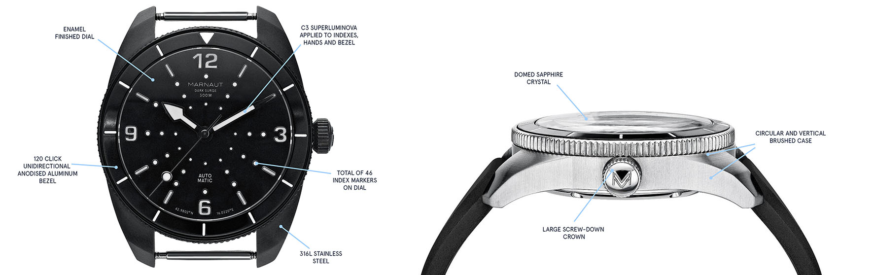 Marnaut watch technical details