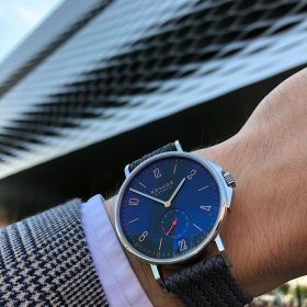 NOMOS Ahoi Atlantic Date at Baselworld 2019 with WatchBandit Perlon strap