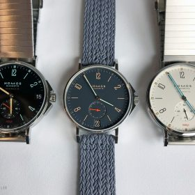NOMOS Tangente neomatik sport 42 and Ahoi Atlantic 40 date size comparison
