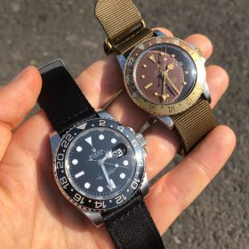 Rolex GMT Master II 116710LN on black two-piece Nato by WB original and Rolex GMT Master 1675 from 1975