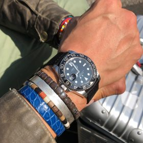 Rolex GMT Master II 116710LN on black two-piece Nato by WB original on Kristian Haagens wrist