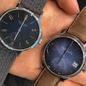Nomos Ahoi Atlantic and Moser Perpetual Calendar blue dials