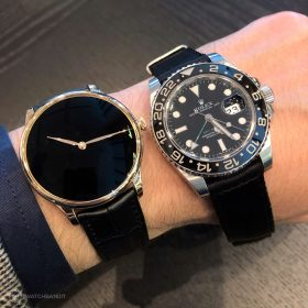 H. & Moser Cie. Vantablack compared to a Rolex GMT Master 2 116710LN black dial