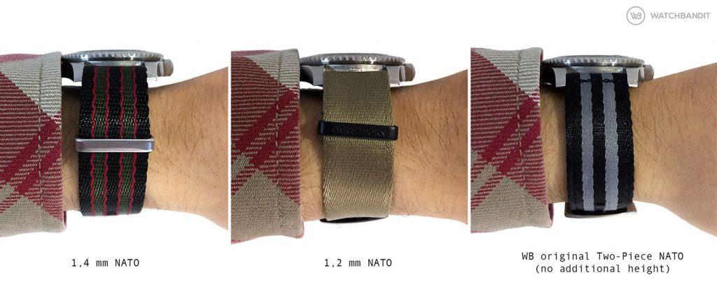 NATO strap additional height on wrist comparison