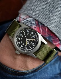 Hamilton Khaki on green NATO strap by @mymechanicalwrist