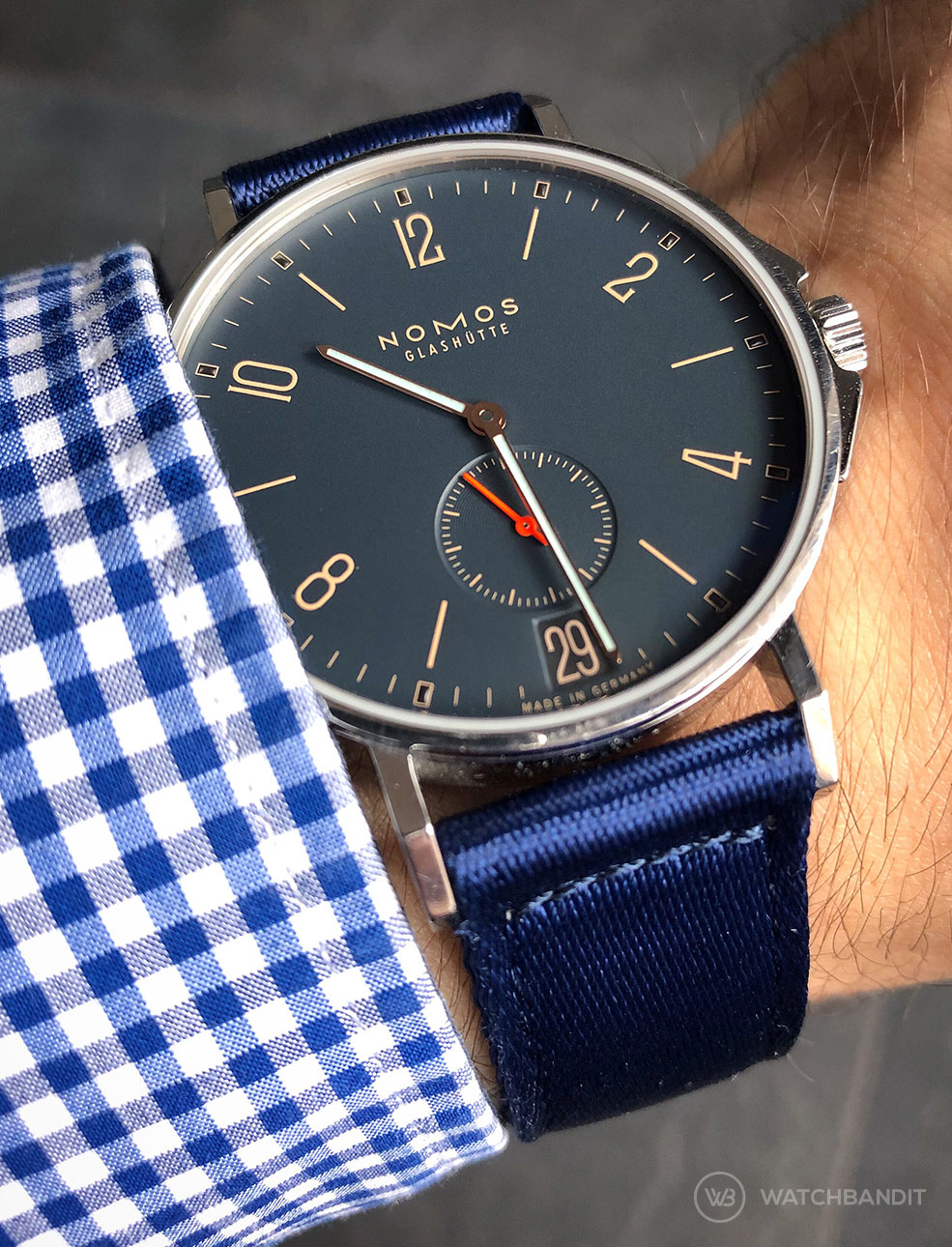 NOMOS Ahoi Atlantic Date on WB Original two piece NATO strap @nomoswatchclub