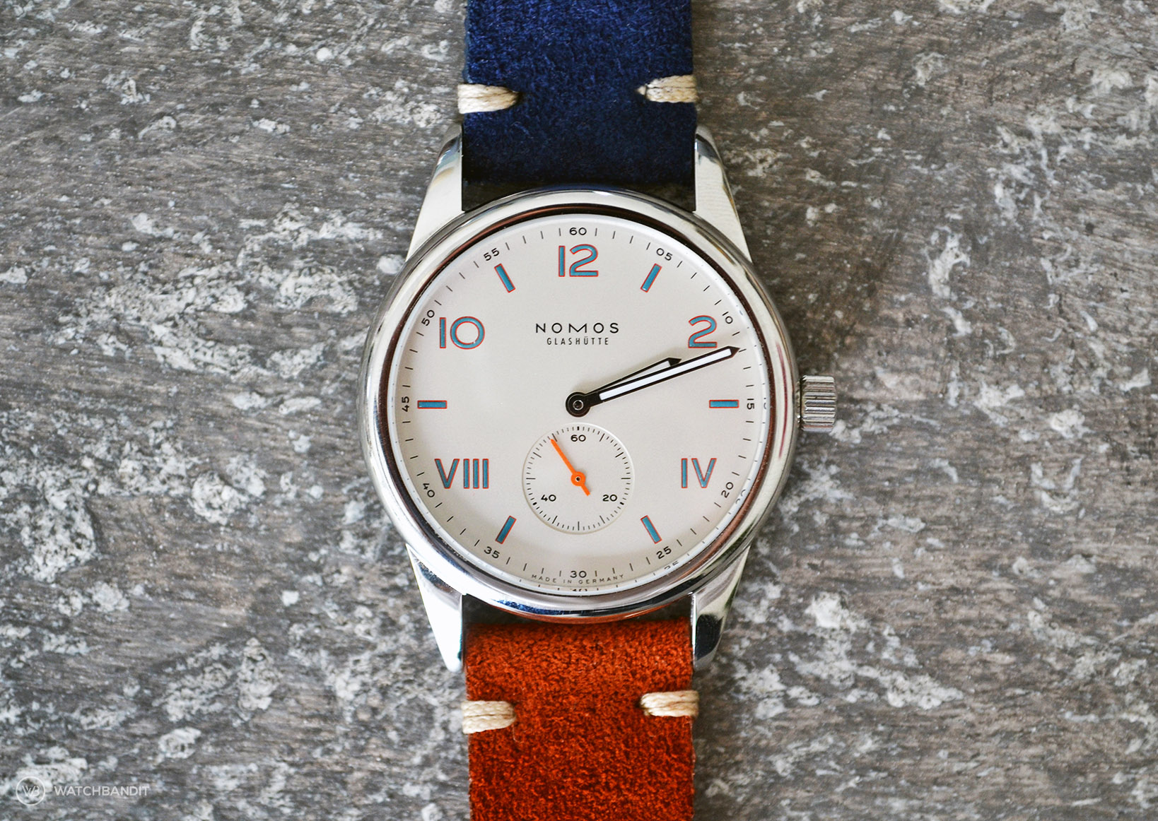NOMOS Club Campus with blue and brown suede strap by WB Original