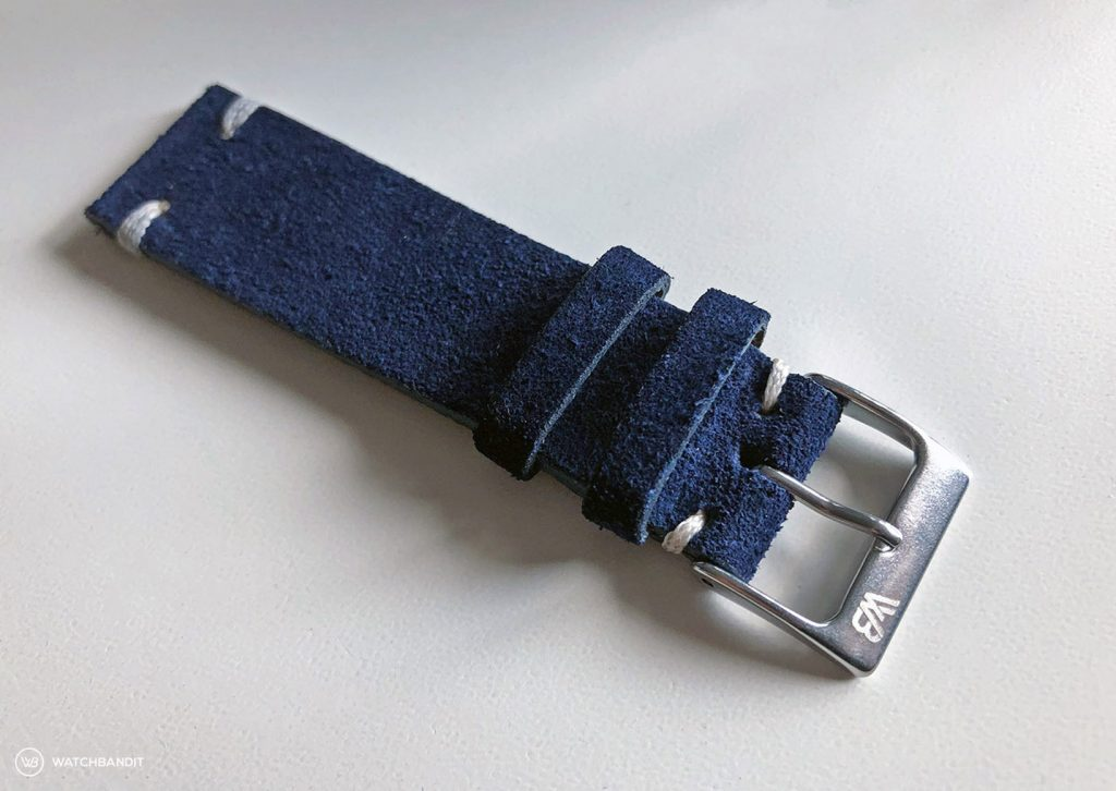 WB Original blue suede strap 21 mm strap width at the watch lugs with 18 mm buckle width + buckle