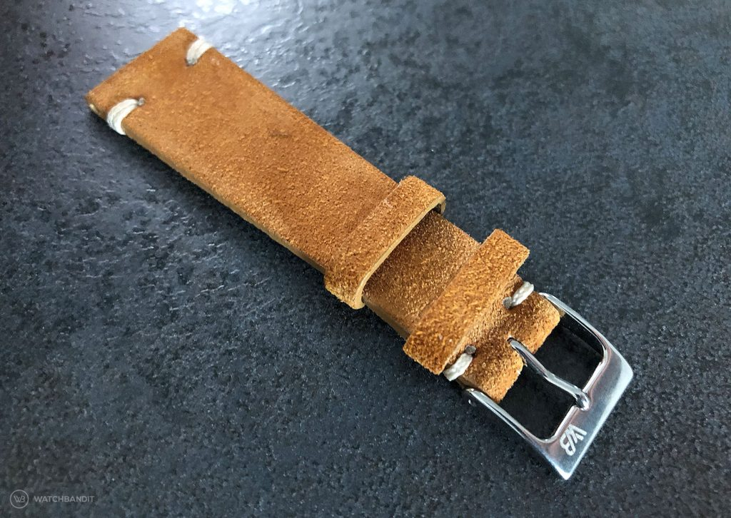 WB Original golden brown suede strap 20 mm strap width at the watch lugs with 16 mm buckle width + buckle