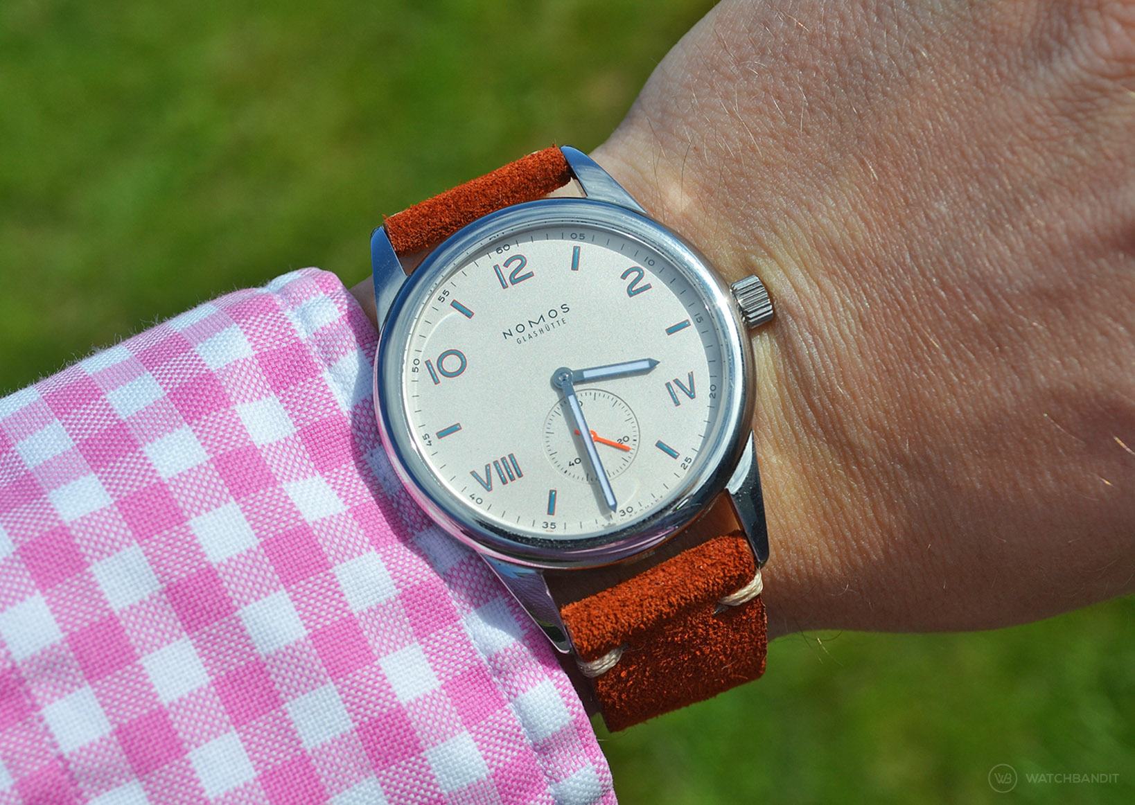 NOMOS Club Campus with rusty brown suede strap wristshot by WB Original