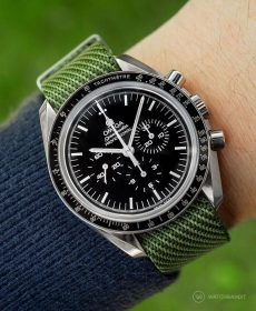 Omega Speedmaster green adjustable single pass NATO strap by watchbandit