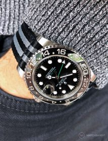 Rolex GMT Master II black grey striped two piece NATO strap by Watchbandit