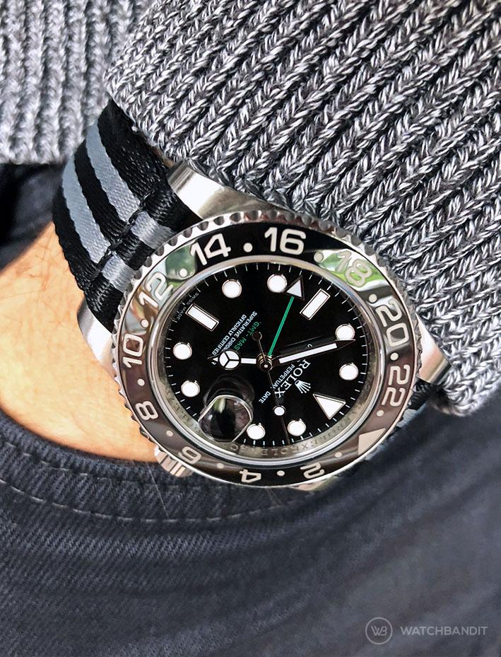 Rolex GMT Master II black grey striped two piece NATO strap by Watchbandit
