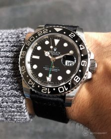 Rolex GMT Master II on black two piece NATO strap by Watchbandit