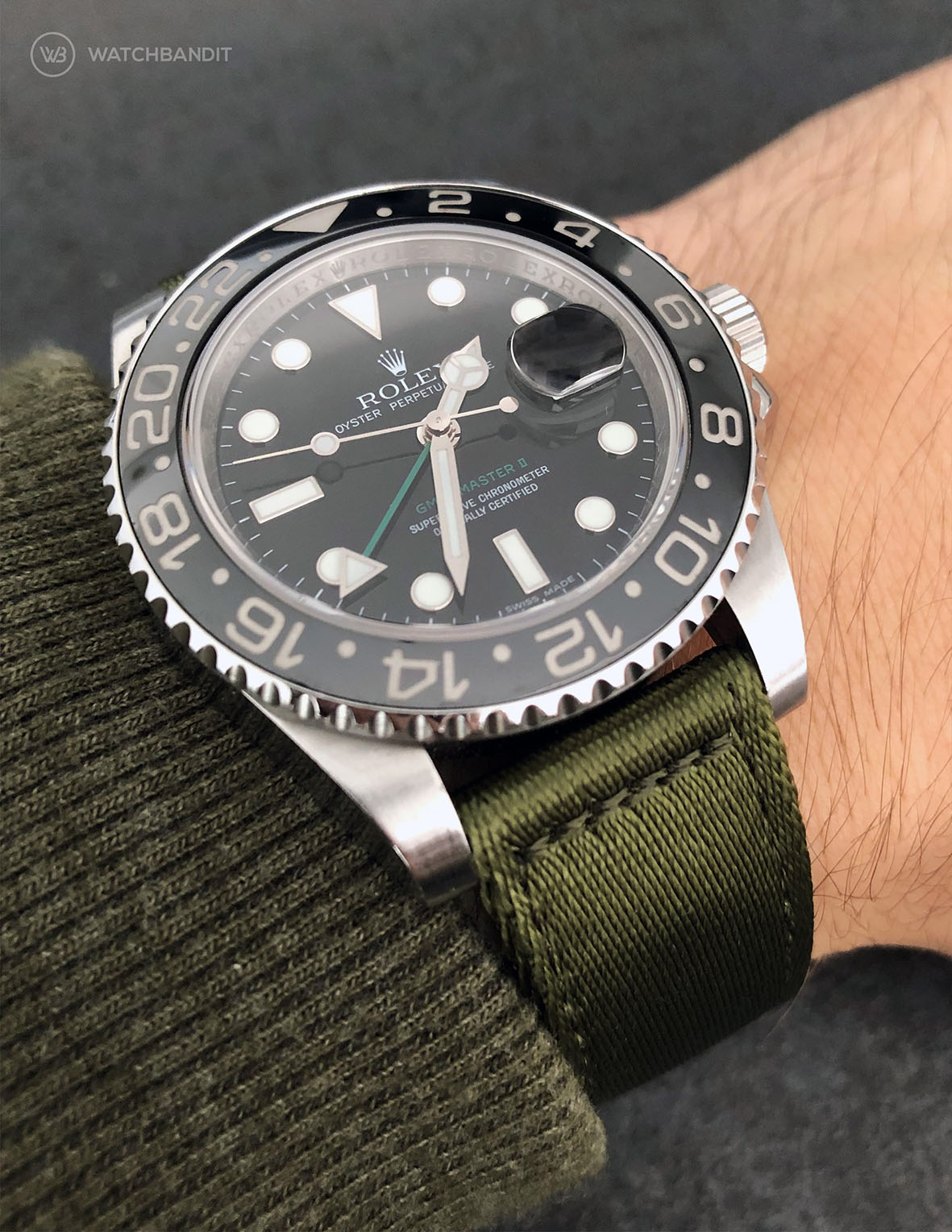Rolex GMT Master II on green WB Original two-piece NATO by @gmtfanatic