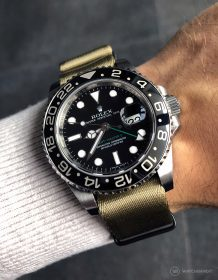 Rolex GMT Master II on khaki #wristporn 1.2 mm NATO strap by Watchbandit