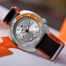 Seiko Turtle Dawn Grey SRPD01K1 black orange Nato WB Original by @tempusx