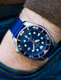 Seiko Diver on blue WB Original two-piece NATO strap by @mymechanicalwrist