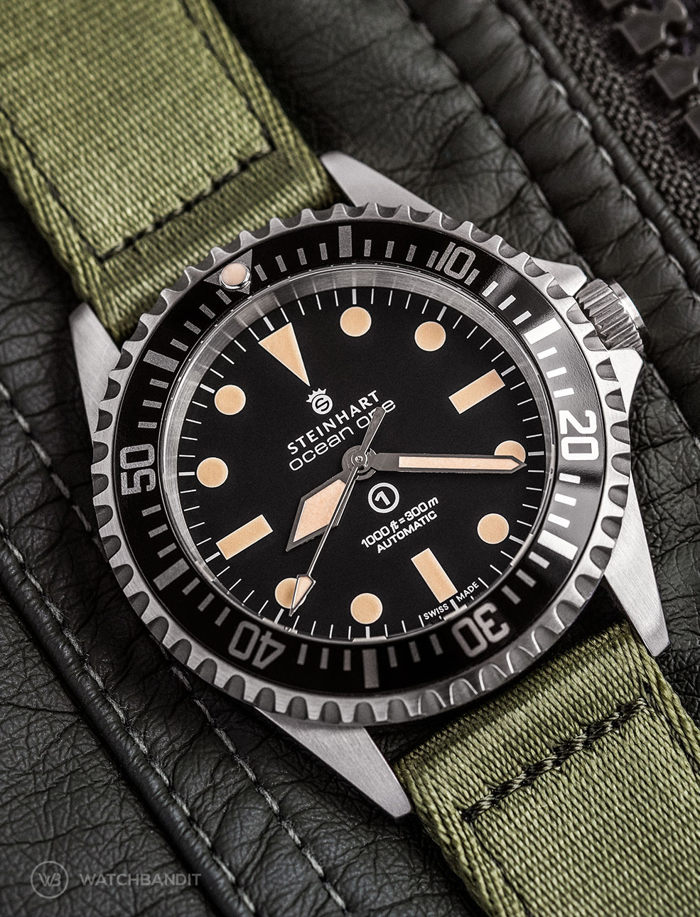 Steinhart Ocean one on green WB Original two-piece NATO by @wristrockers