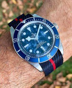 Tudor BB blue red adjustable single pass NATO strap by watchbandit