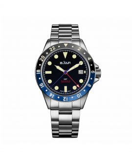 Le Jour Seacolt GMT Batman Black Blue bezel front